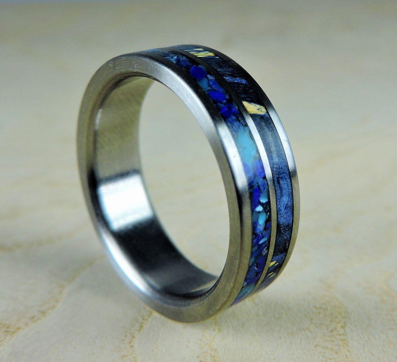 Wedding Band For Men Mens Titanium Ring Wooden Wedding Band Etsy Blue Rings Titanium Rings For Men Titanium Wedding Rings