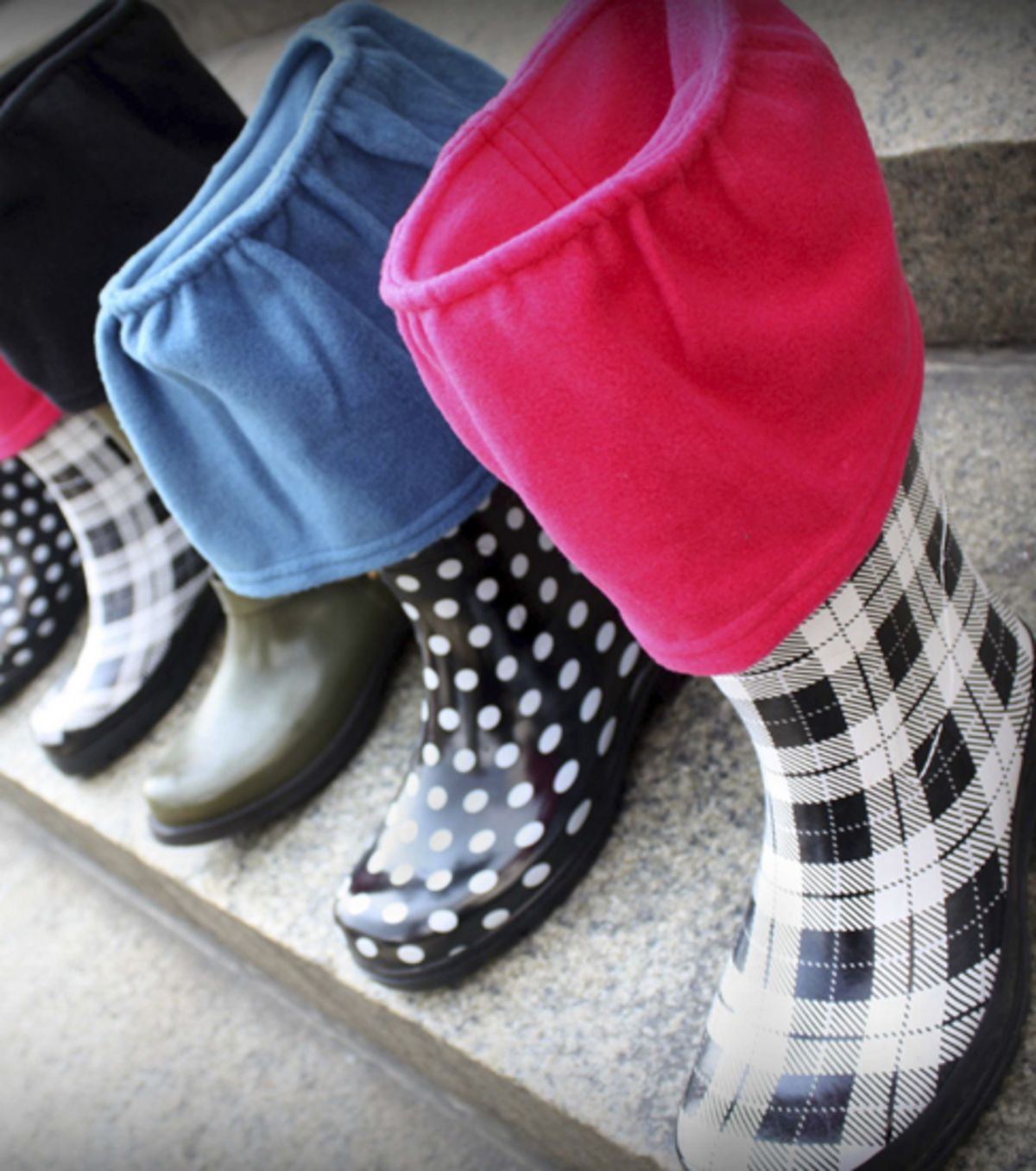 Love these rain boot liners -- made with ruffled #fleece! :)