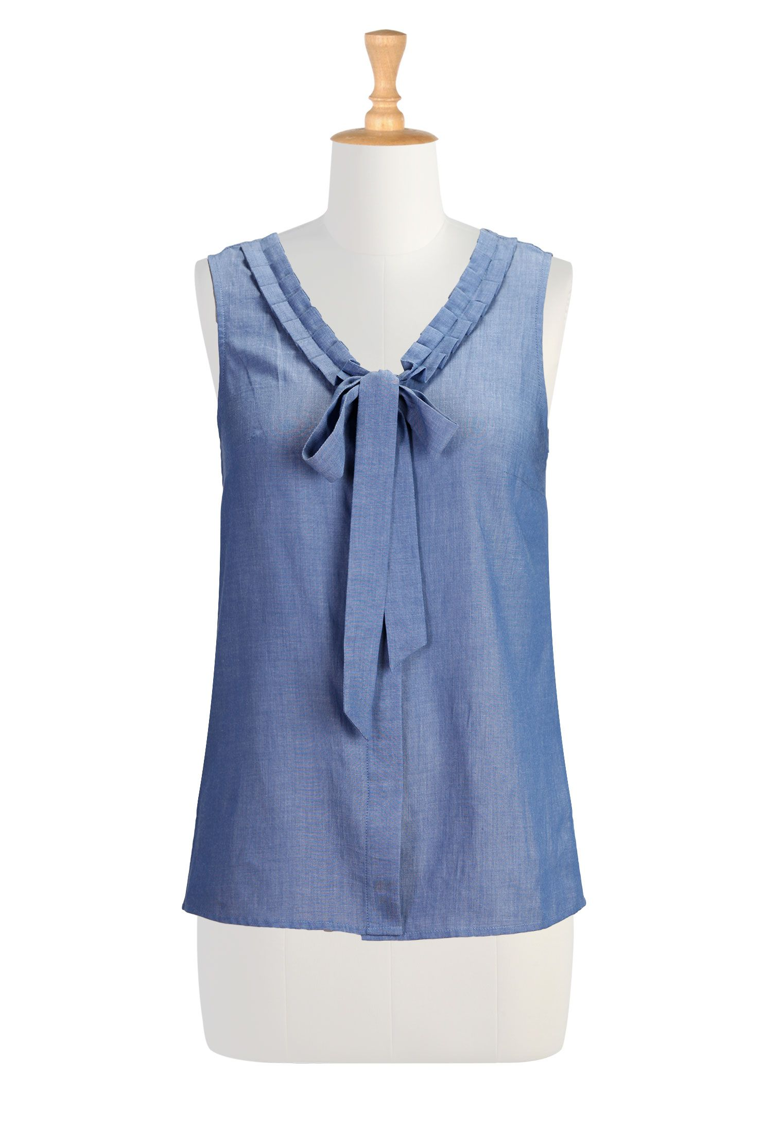 Chambray voile blouses light cotton plus size shirts for Plus size chambray shirt