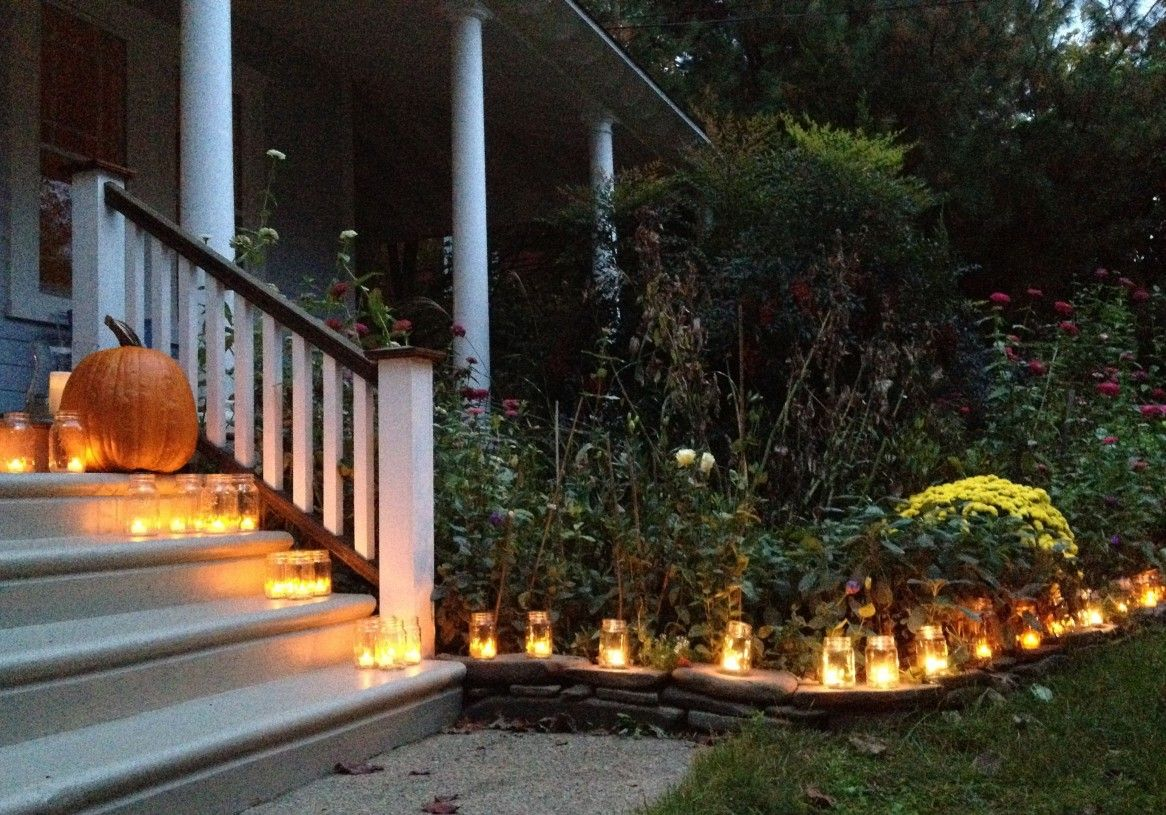 others halloween outdoor decorating ideas simple tea lights votive candles mason ball jars luminary