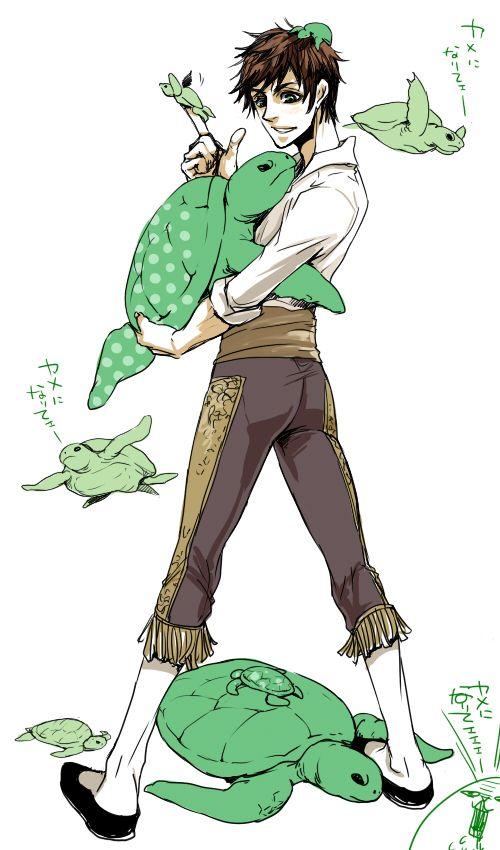 Antonio with a lot of turtles - Art by Zuwai Kani
