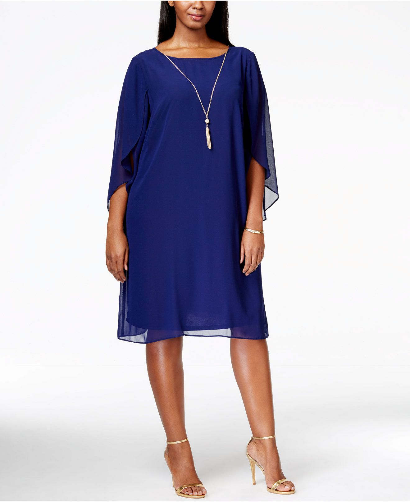 MSK Plus Size Angel-Sleeve Tassel Dress - Dresses - Women ...