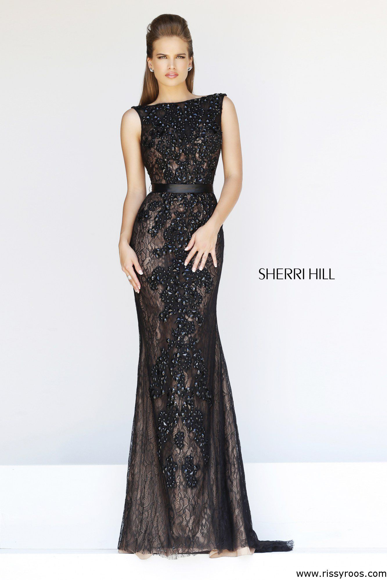 Sherri hill blacknude beaded high neck prom dresses online