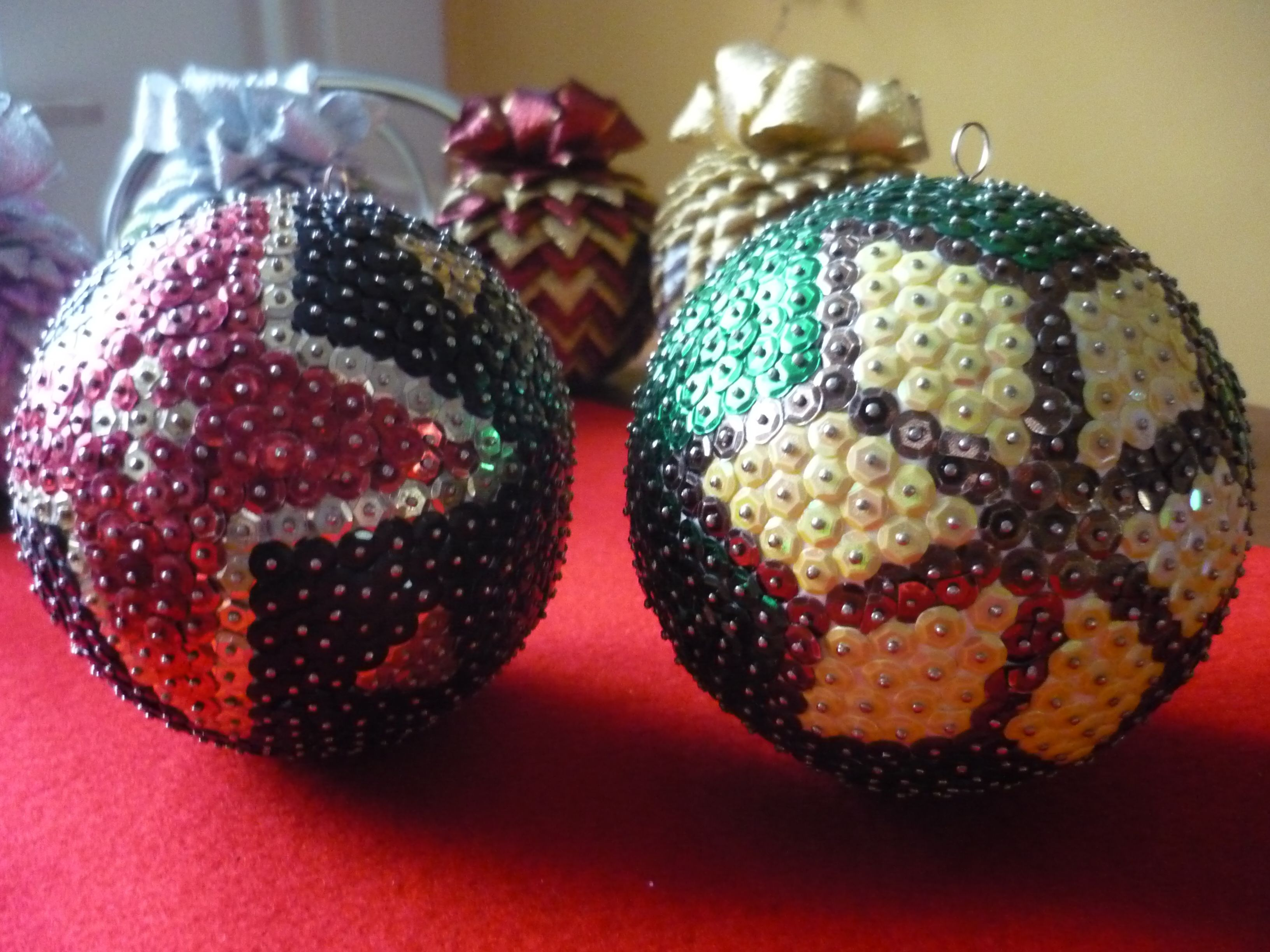 Bombki Cekinow Sequin Ornaments Beaded Christmas Ornaments Crafts