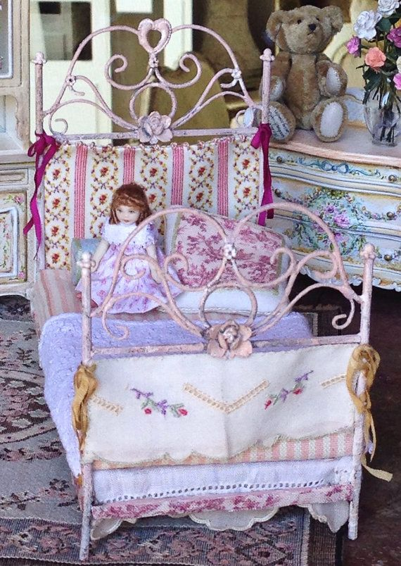 Pink Wrought Iron Child Bed W Doll 1 12 Scale With Images