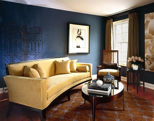 Modern Brown Curtain And Yellow Sofa Combination For Contemporary Living Room Design Using Dark Blue Wall Paint Ideas