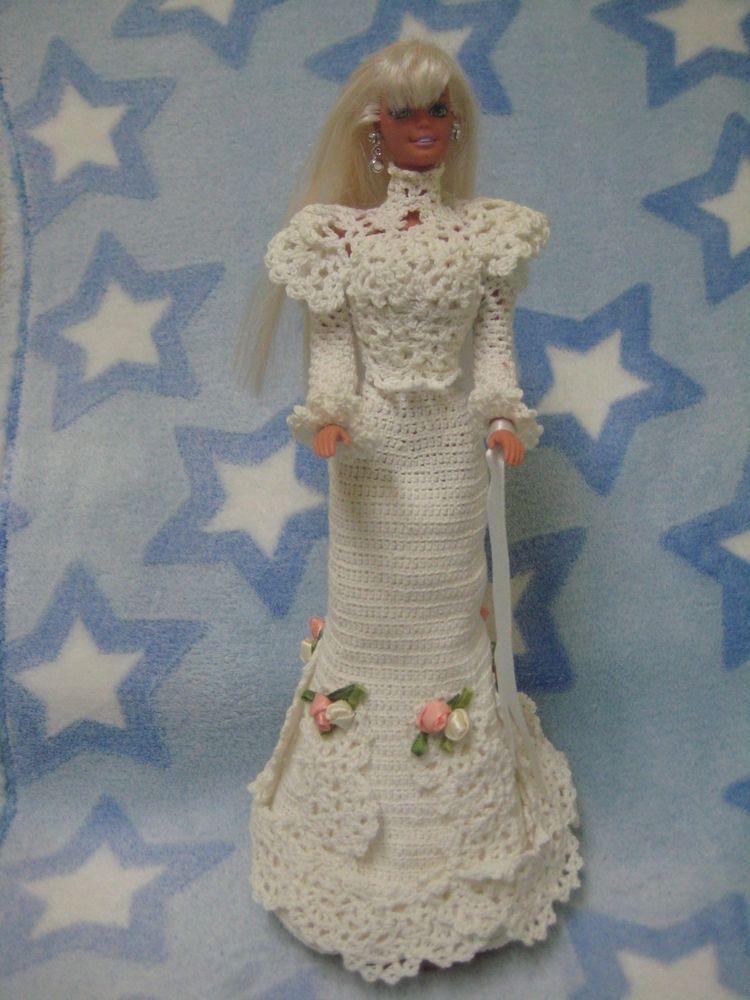 1975 barbie crochet wedding dress pillow doll white handmade rosebud cake topper