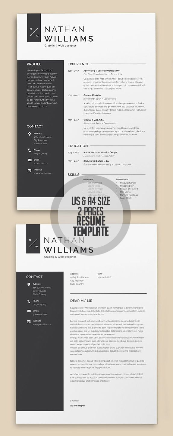 A4/US Letter 2 Page Resume Template | resume | Pinterest | Hoja ...