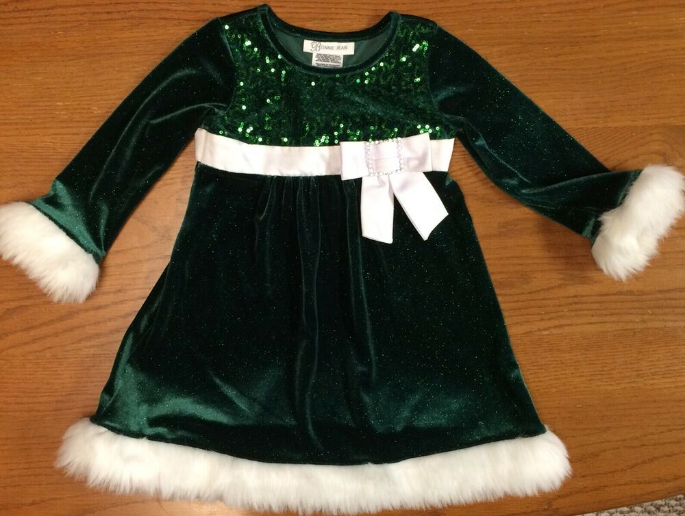 Bonnie Jean Girls Plaid Taffeta Holiday Christmas Dress Velvet Cardigan 2T 3T 4T