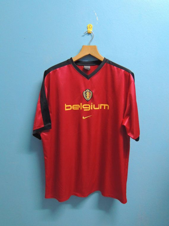 Vintage Nike Belgium Football Jersey Big Logo Sport Shirt Soccer Shirt Size L