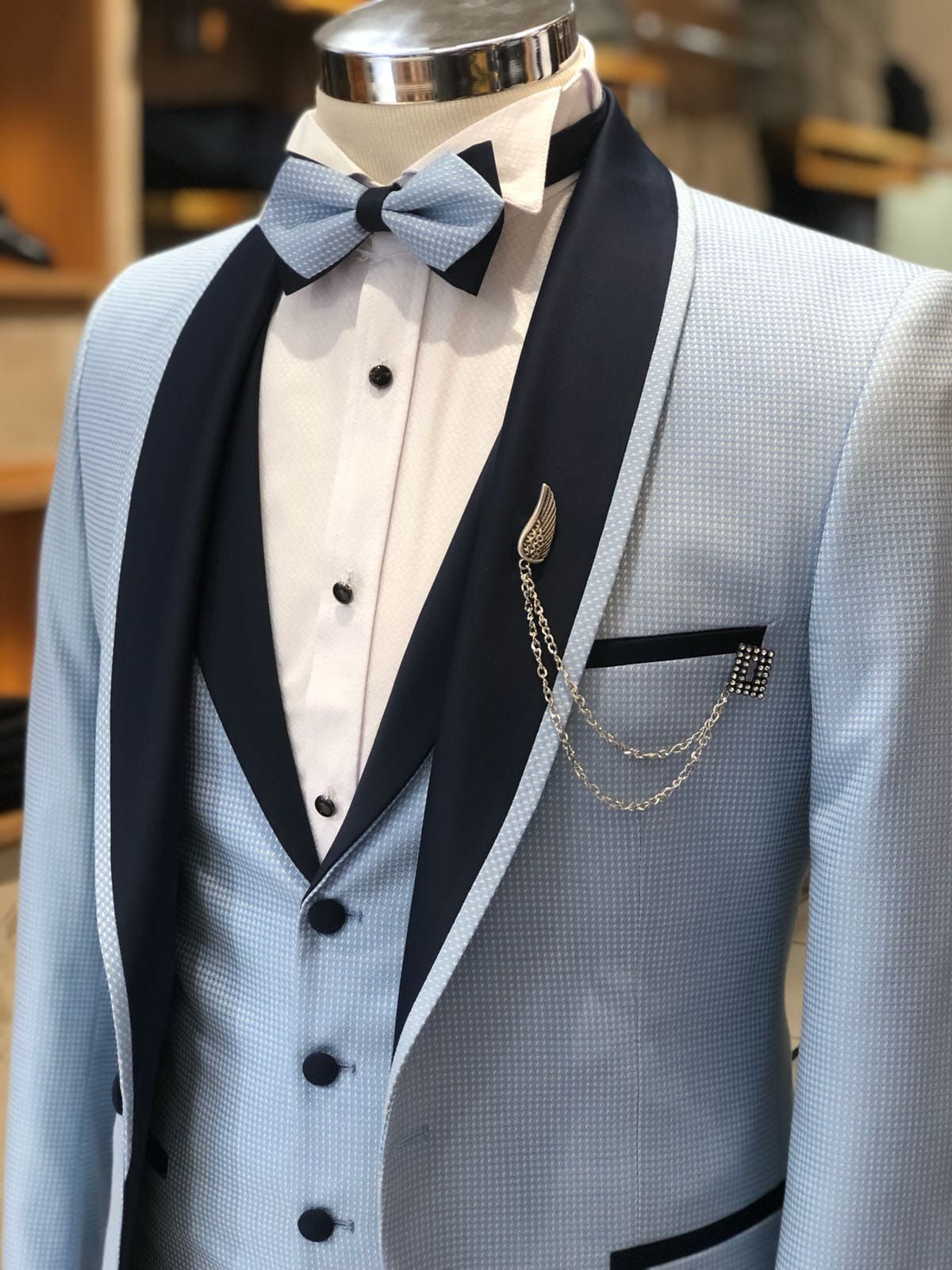 Buy Blue Slim Fit Tuxedo by with Free