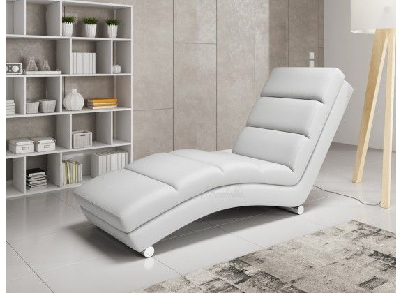 Lounge Stoel Woonkamer : Chaise longue ibiza wit leer. chaise longue ibiza is een