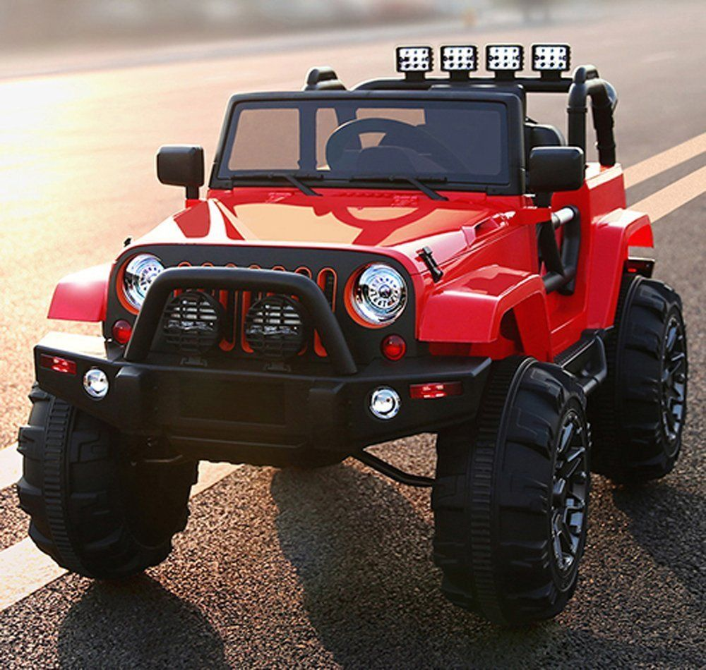 Kids Ride On Jeep 12v Power With Big Wheels And Remote Control Red Remote Control Cars Power Wheels Kids Ride On