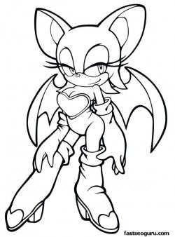 Printable Sonic The Hedgehog Rouge Coloring Pages For Girls
