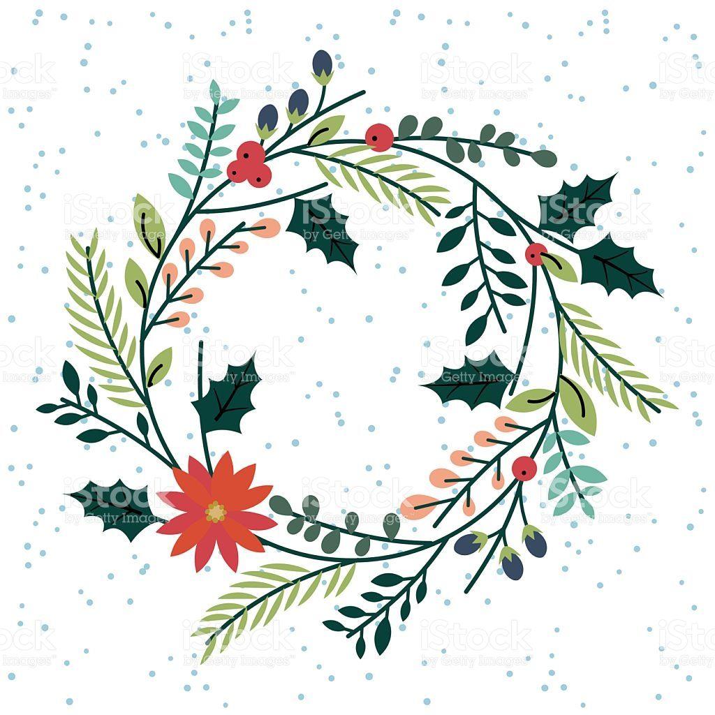 Рождественский венок или растительным цветочным Сток Вектор Стоковая
