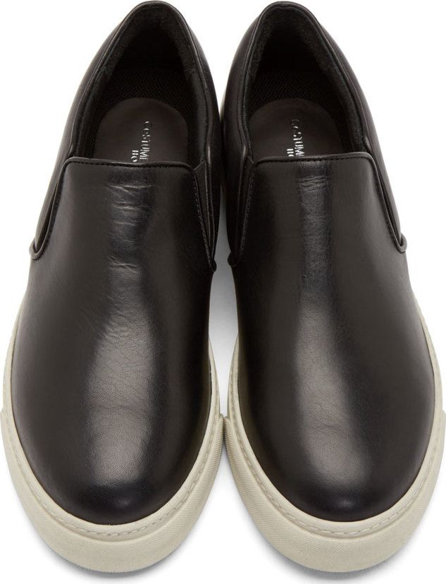 Costume National Black Leather Slip-On Sneakers