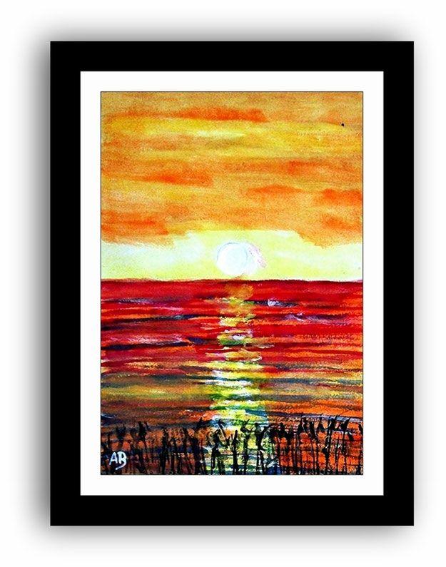 Landschaft Aquarellmalerei Meer Sonnenuntergang Kuste See Moderne