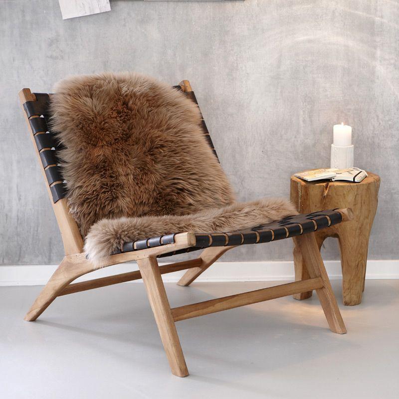 Stol m sort læder flet Hübsch | Interior design furniture