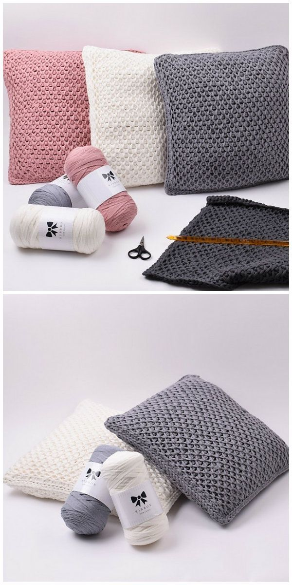 Tunisian Fishnet Pillow Free Crochet Pattern #tunisiancrochet