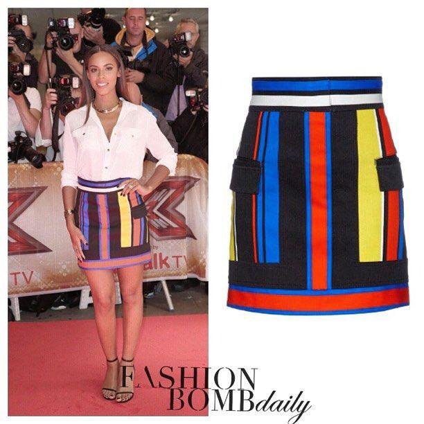 Would you splurge on @rochellehumes 's $1,775 @balmainparis stretch denim skirt?  #instafashion #instastyle #fashion #Fashionbombdaily #style #rochellehumes #balmain #xfactor #xfactoruk