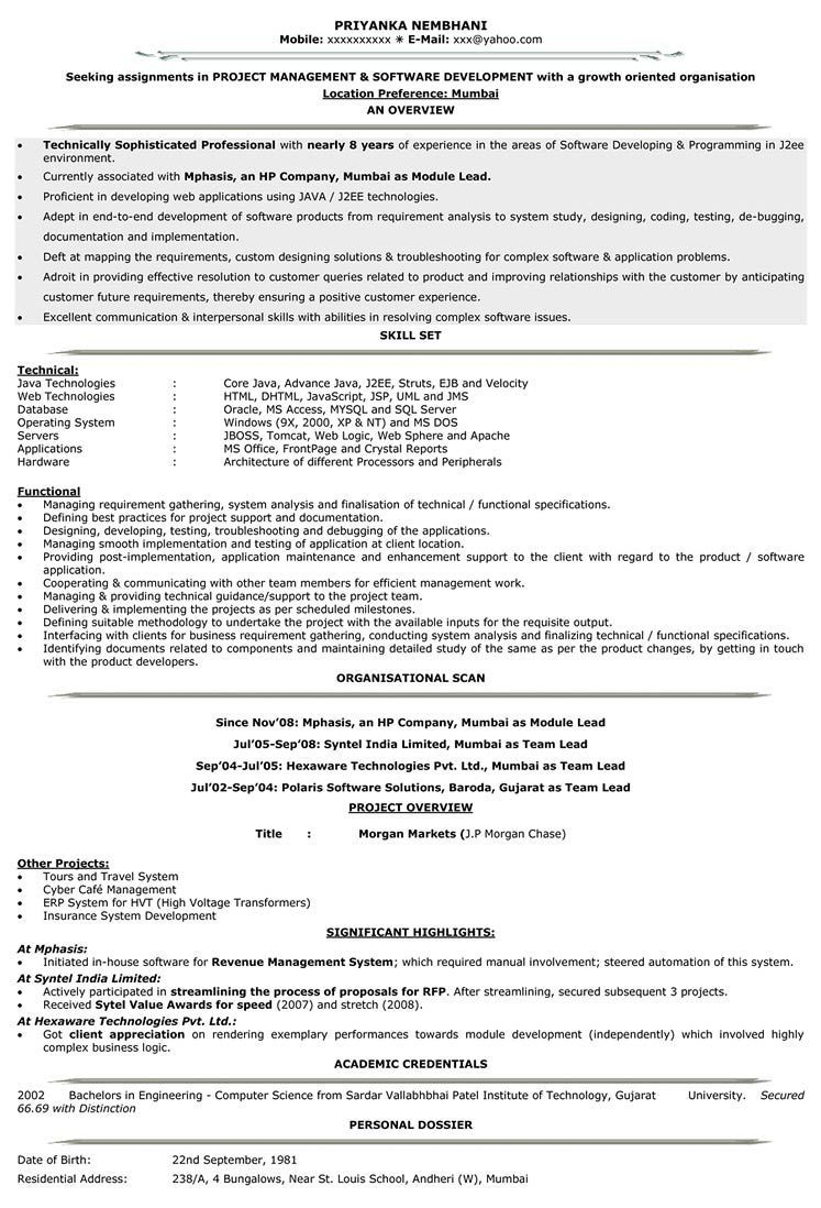 8 years experience resume format experience format