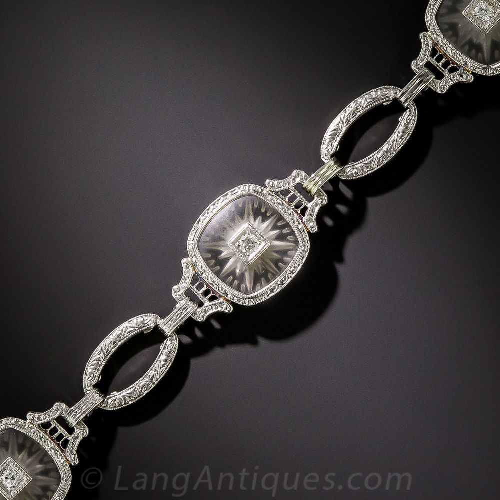 Carved crystal diamond bracelet three shimmering lozenge shape