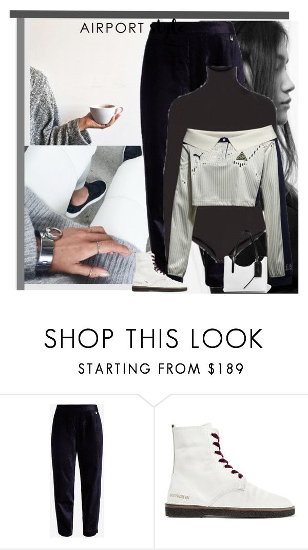 """Travel In Style"" by peeweevaaz ❤ liked on Polyvore featuring Ted Baker, Golden Goose, Jimmy Choo and airportstyle"