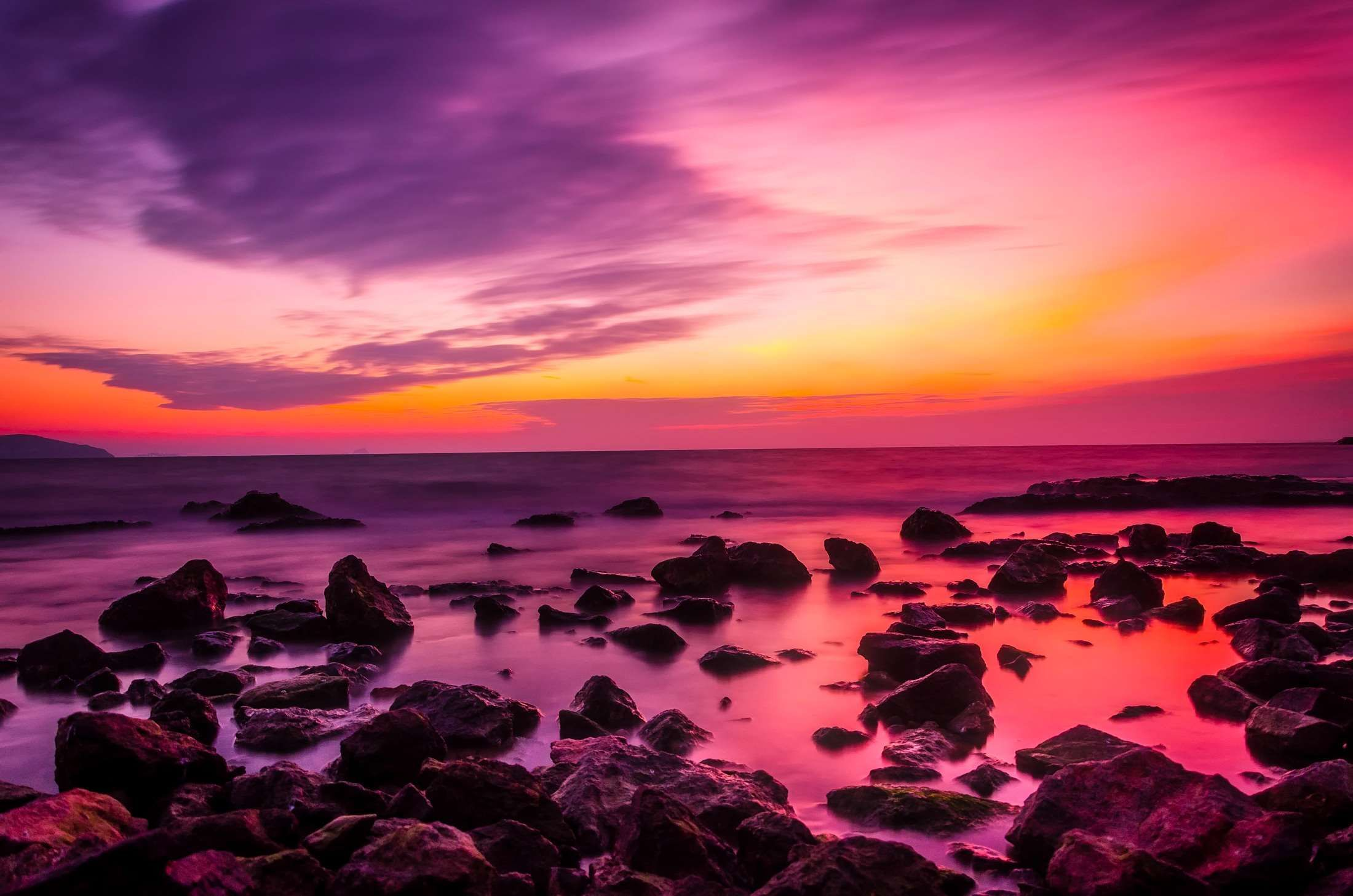 Beach Beautiful Boulders Calm Waters Clouds Colorful Colors Dawn Dusk Evening Hdr Horizon Land Beautiful Scenery Pictures Sunset Pictures Dusk Sky Pink clouds sunset dusk coast rocks