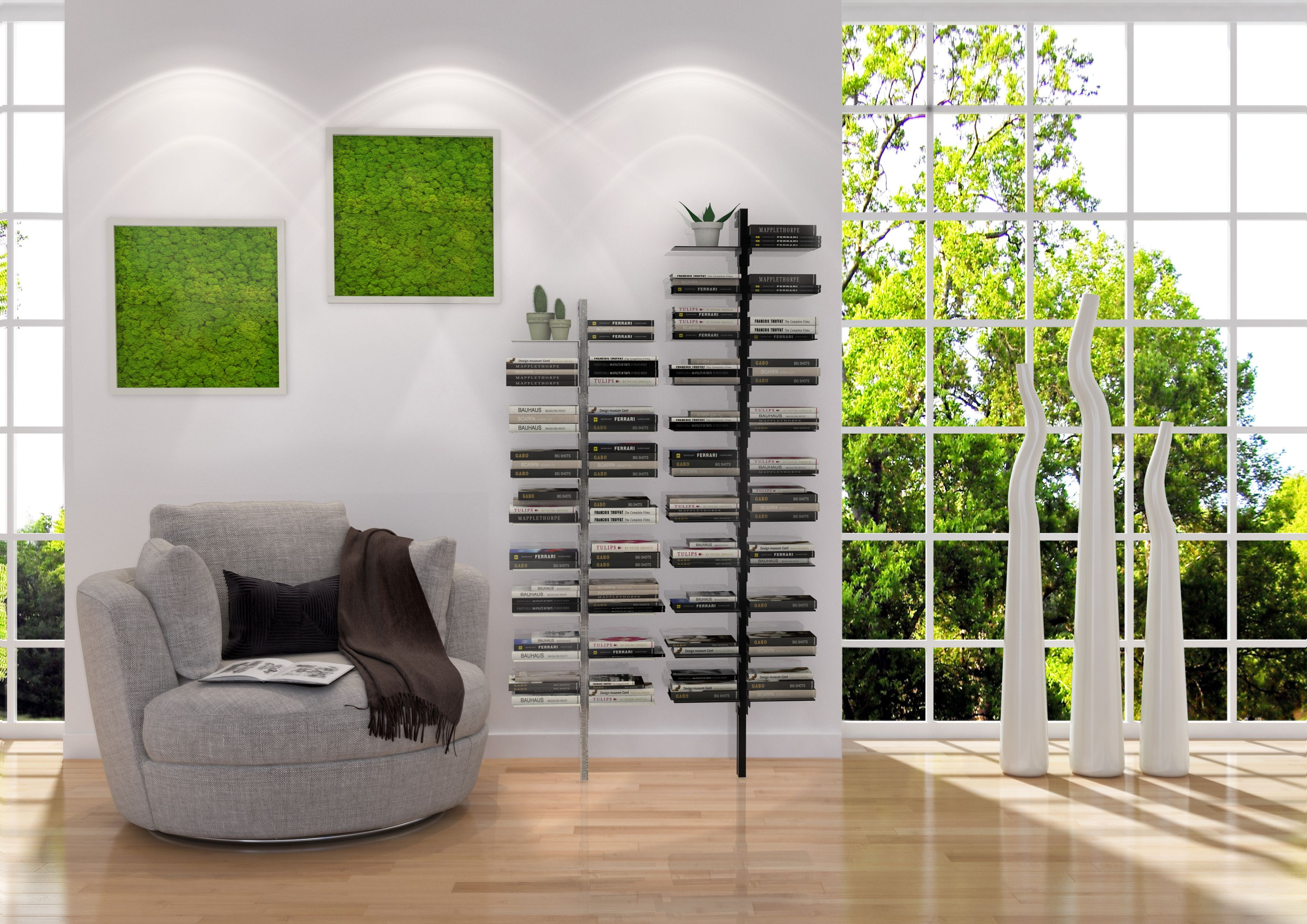 Dotto Wall Library  Easy to assemble , the plans can be placed at the desired height , can be used not only for books but also other items like plants .. to decorate every room of your home