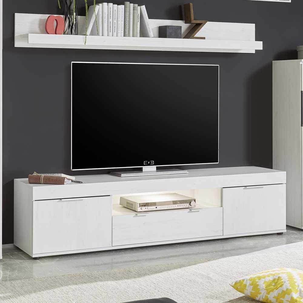 tv unterschrank in pinie wei led beleuchtung jetzt bestellen unter. Black Bedroom Furniture Sets. Home Design Ideas