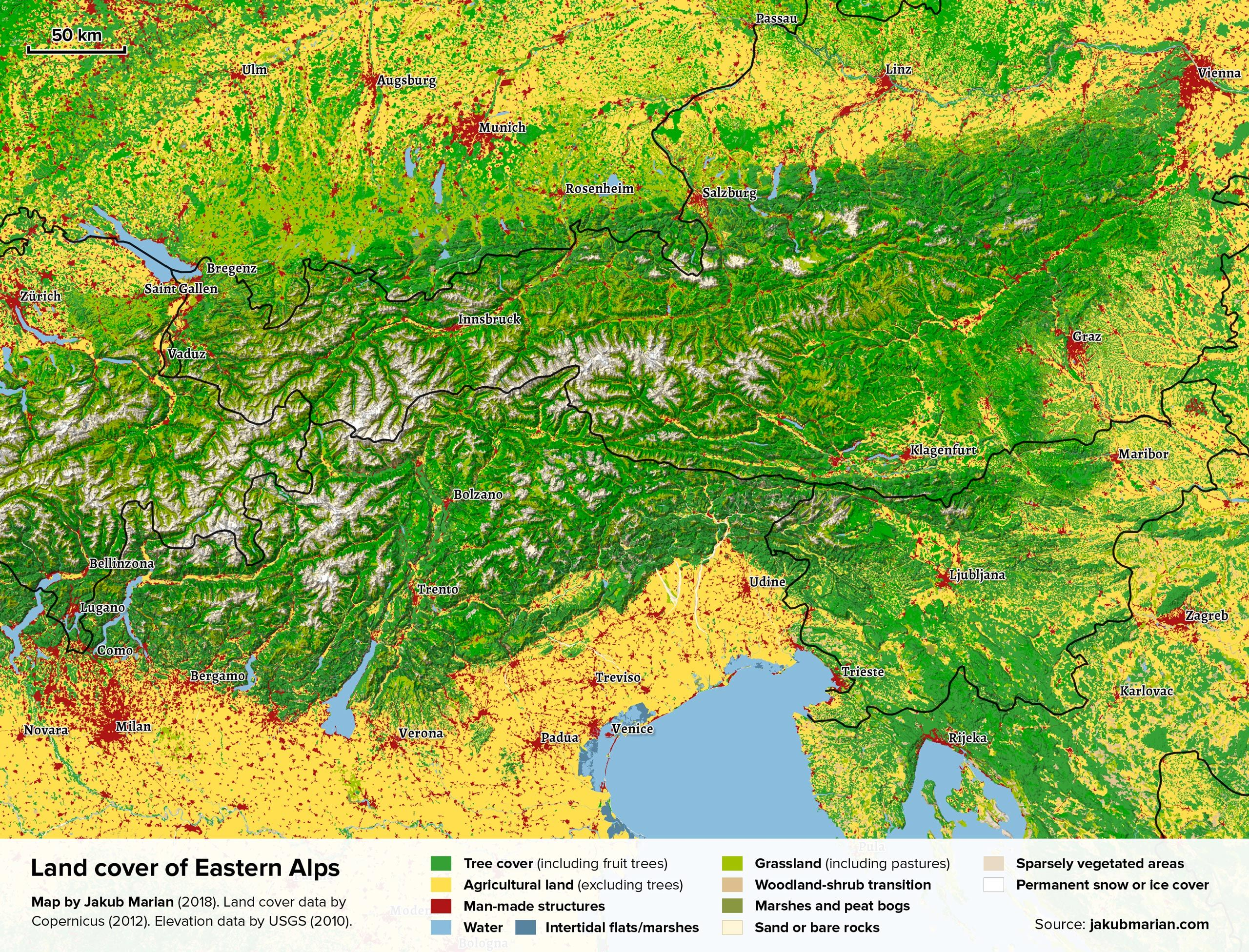 Royalty Free Map%0A Land cover of Eastern Alps