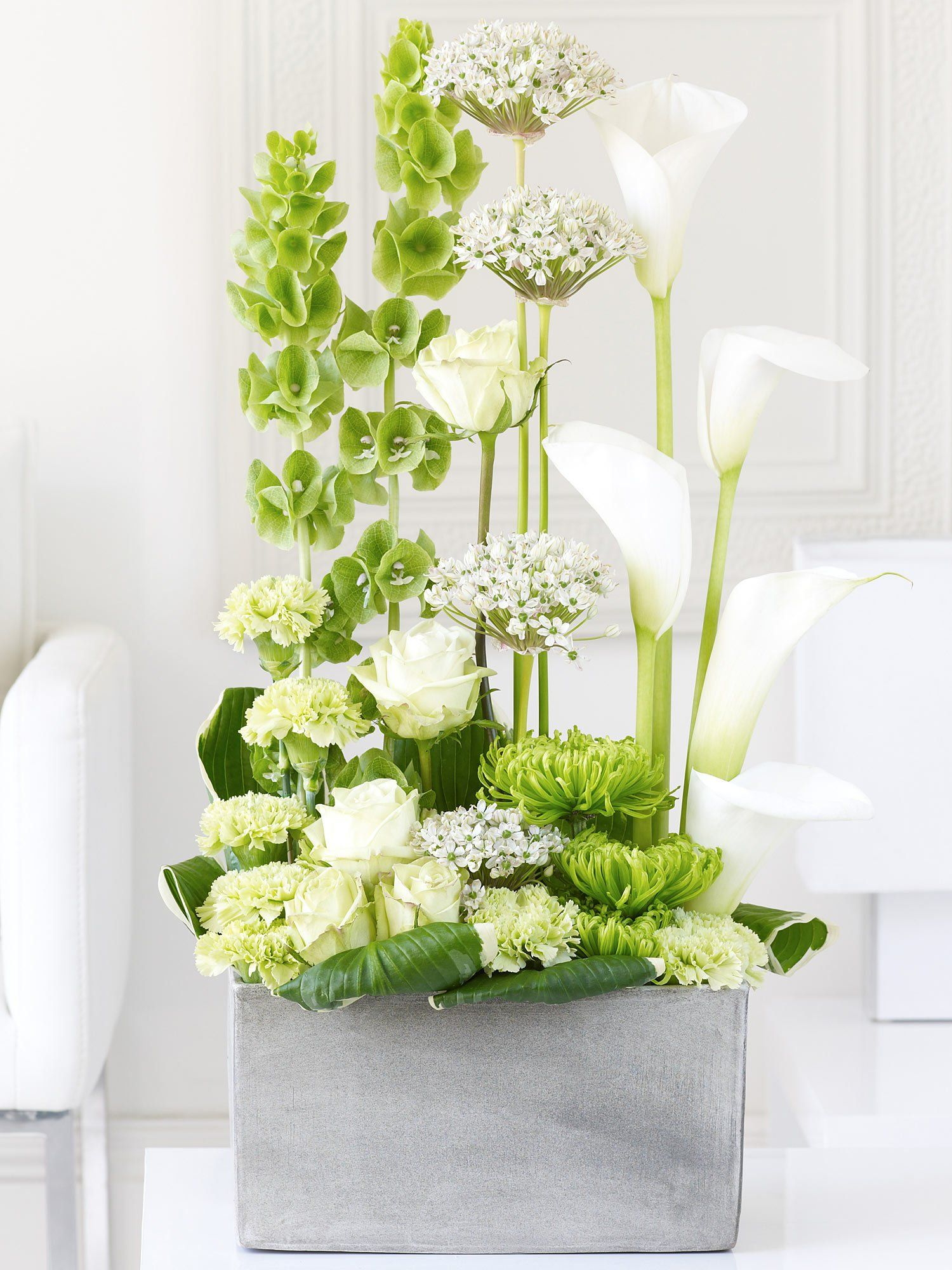 Luxury calla lily allium and rose cascade interflora for Flower arranging tips design