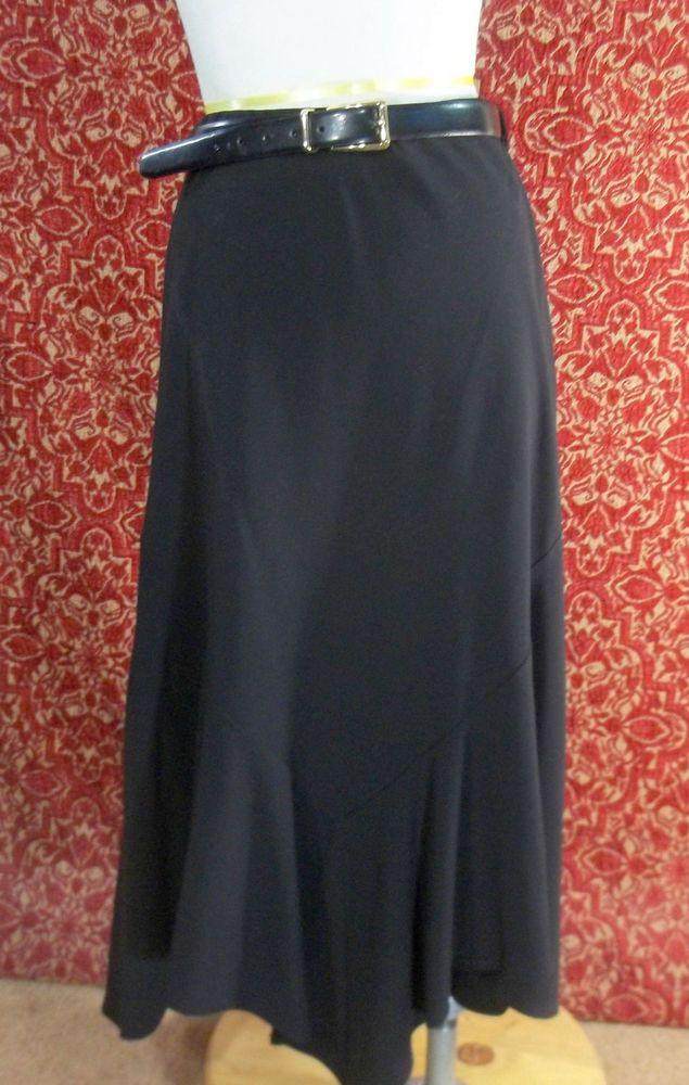 LARRY LEVINE STRETCH black poly blend asymmetrical A-line skirt 12(T41-DK5G #LarryLevine #ALine