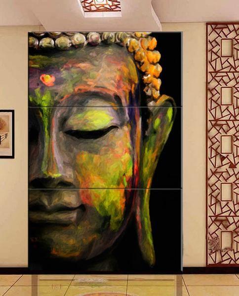 3 Piece Vertical Wall Art Painting Framed Buddha Cheap Canvas Wall Art Painting Buddha Wall Art