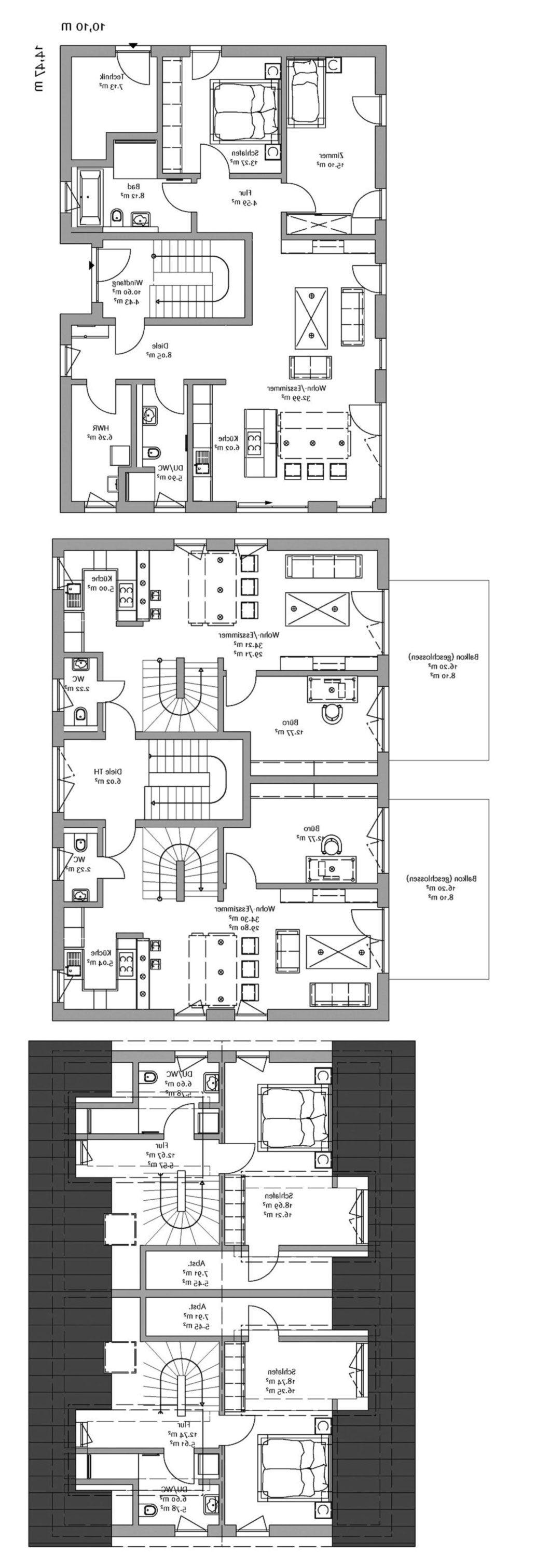gleicher Grundriss nur gespiegelt...... Floor plans