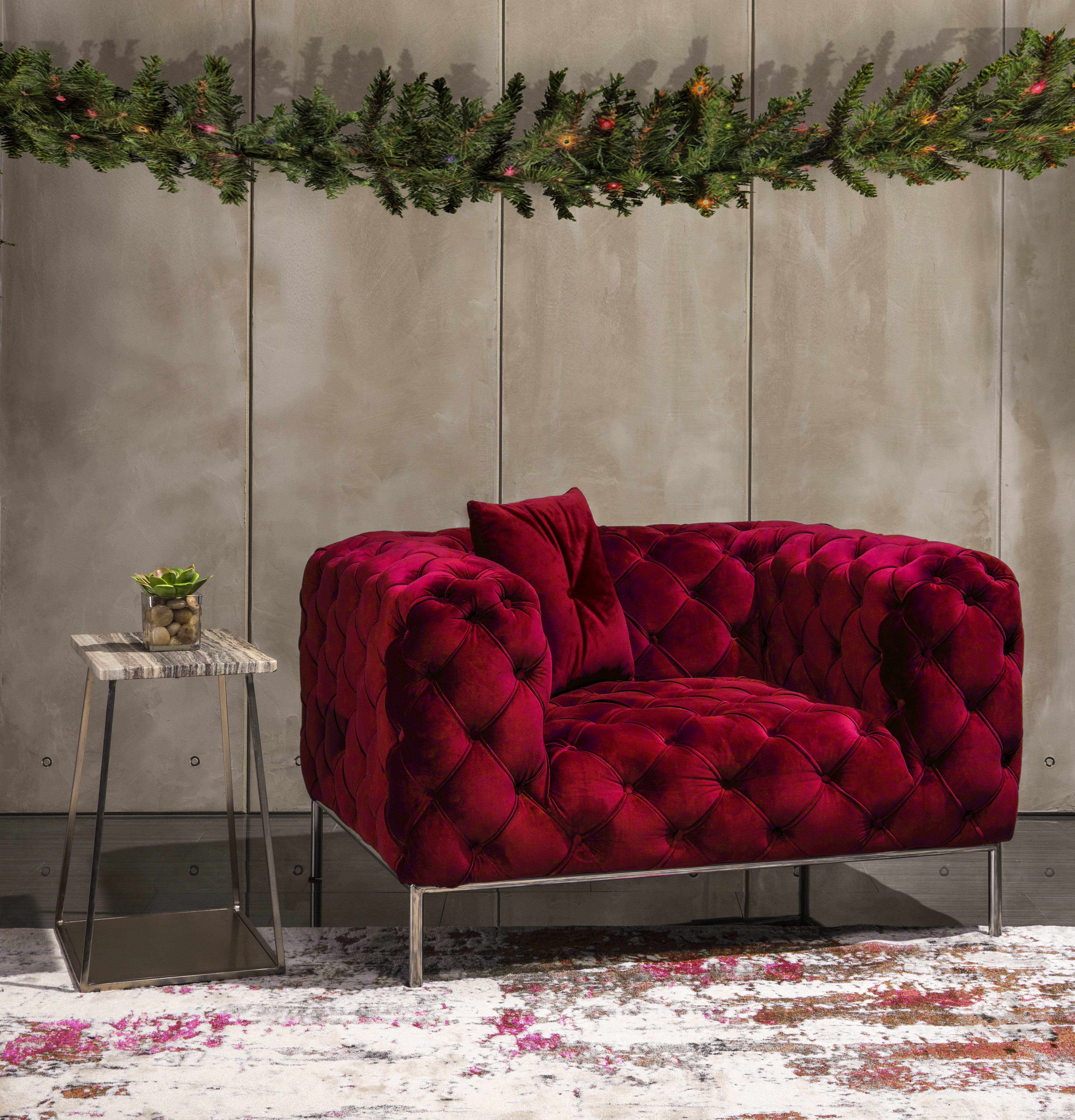 Crandon Red Chair Half Red Chair Chair Accent Furniture #red #living #room #accent #chairs