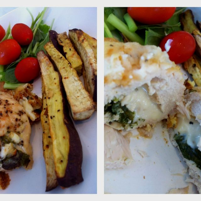 Baked chicken with stuffed cheese and spinach. 197 calories per chicken. It's yummilicious!