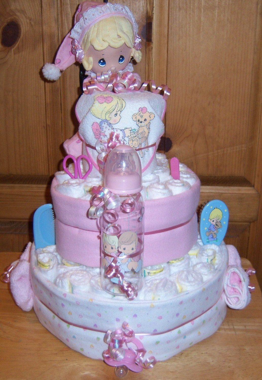 baby shower precious moments 3 tier diaper cake via etsy
