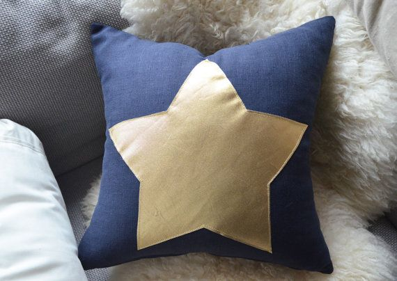 Navy Blue Linen Pillow Cover  Gold Star  by sukan