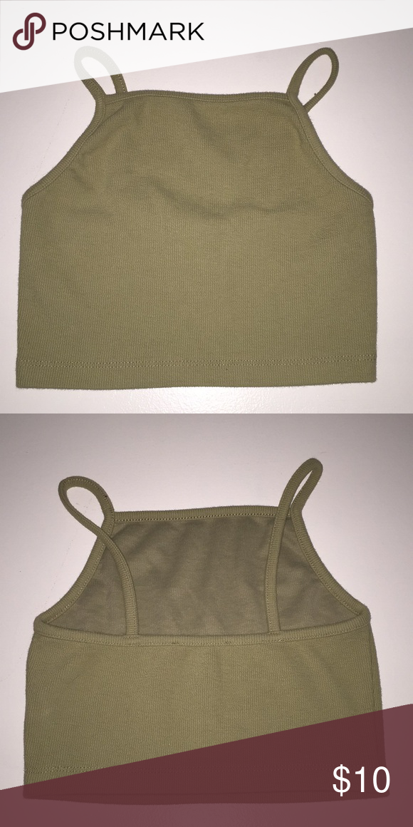 f7aeb34e2ca485 crop top Small light olive green crop top Forever 21 Tops Crop Tops ...