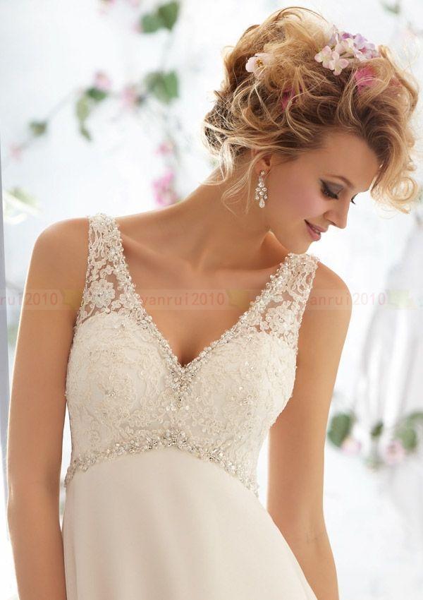 Hot Empire Style Custom V Neck Straps Chiffon Lace Wedding Dress Gowns On Beach Ebay Cabelo De Noiva Vestido De Noiva Simples Vestido De Casamento
