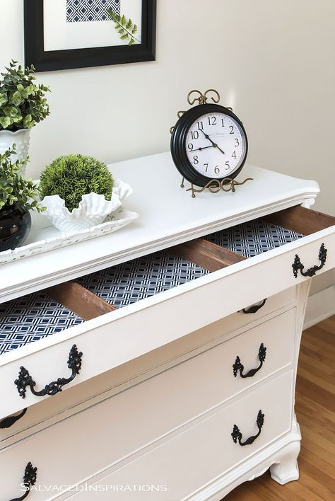 Pure White Chalk Paint   Buffet Makeover