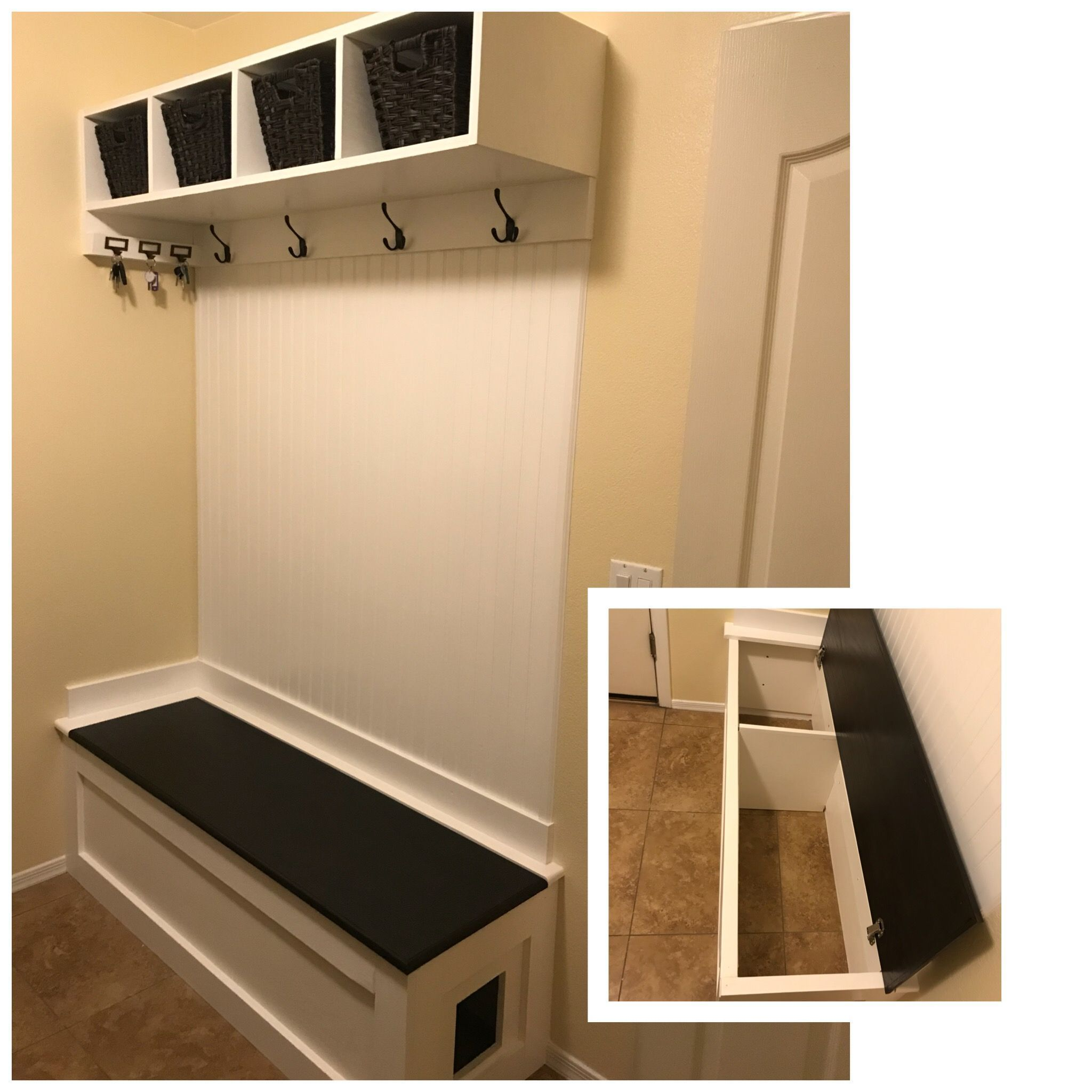 Mudroom Bench With Litter Box Space Litterbox Cats Mudroom