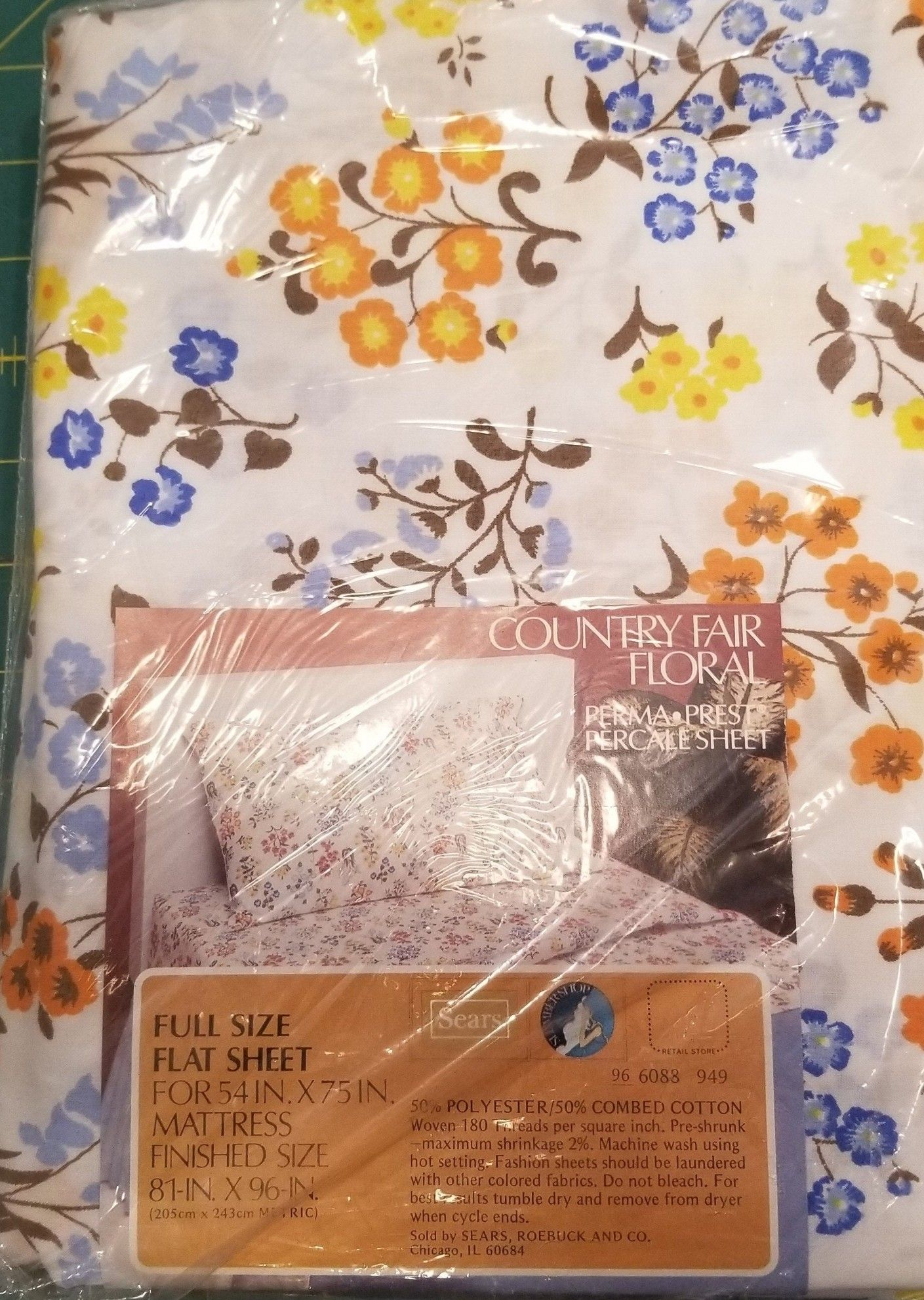 NIP Vintage White /& Black TIGER Full Size Flat Bed Sheet Made in USA by Sears