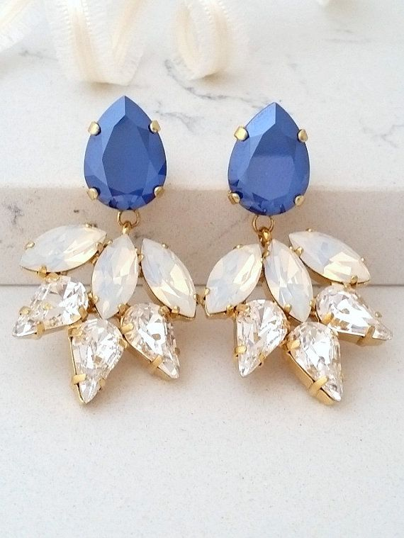 Sapphire Blue Earring Bridal Chandelier Earrings Sapphire