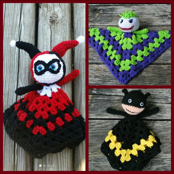 Check out this item in my Etsy shop https://www.etsy.com/listing/232881268/batman-security-lovey-blanket-amigurumi