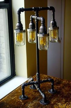 Industrial Table Lamp With Pipes And Mason Jars DIY Projects   Diy Mason  Jar Projects