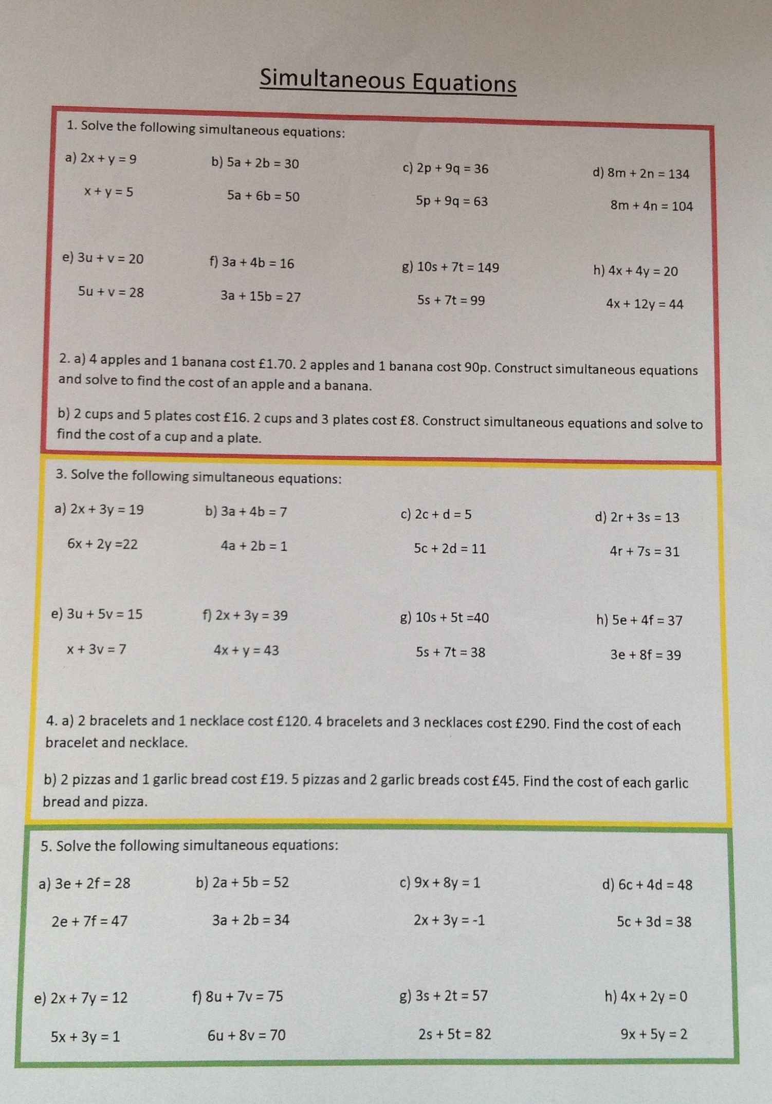 Worksheets Simultaneous Equations Worksheet differentiated worksheet on simultaneous equations math equations