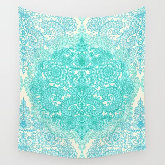 Happy+Place+Doodle+in+Mint+Green+&+Aqua+Wall+Tapestry+by+Micklyn+-+$39.00