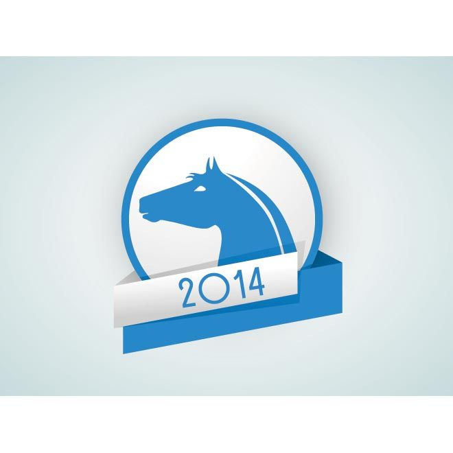 Vector Blue Happy New Year 2014 Concept Iconic Symbol Year Of The